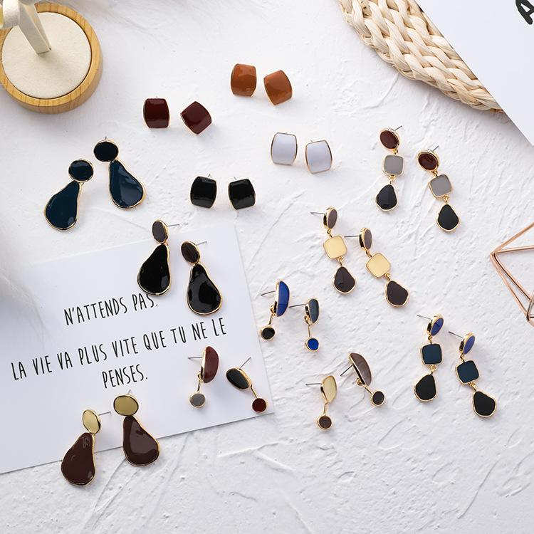 Korean fashion personality drop glaze geometric earrings irregular round square drop earrings temperament simple earrings