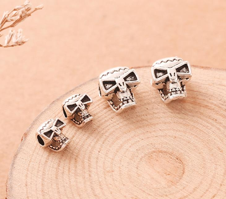 S925 sterling silver accessories DIY carved skull cross beads handmade material Thai silver bracelet necklace jewelry accessories