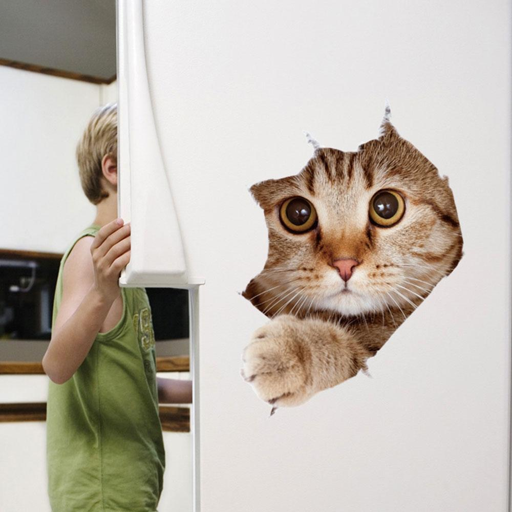 Cats Broken Wall 3D Stereo Effect Sticker Home Removable Wall Sticker