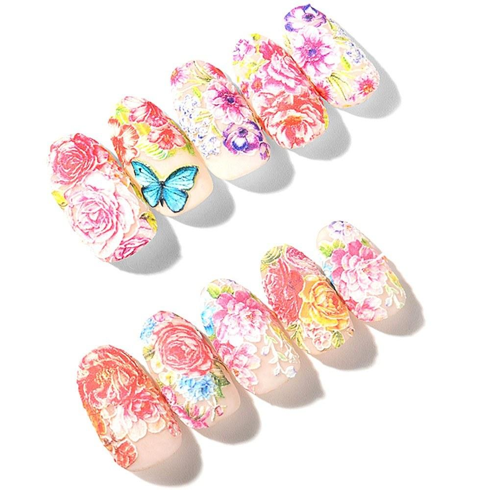1 Sheet Water Transfer Engraved Flower Nail Sticker DIY Manicure Slider Design Nail Art Decoration