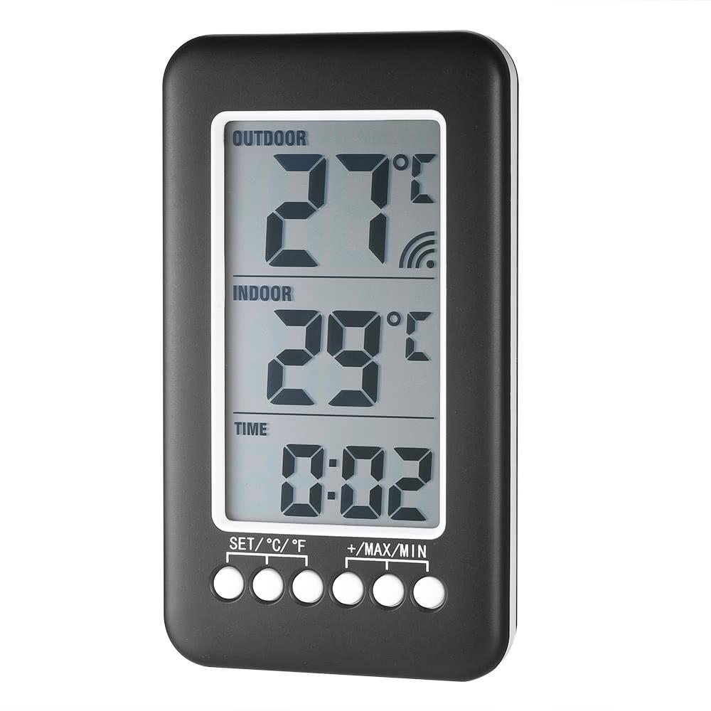 LCD ℃/℉ Digital Wireless Indoor/Outdoor Thermometer Clock Temperature Meter With Transmitter