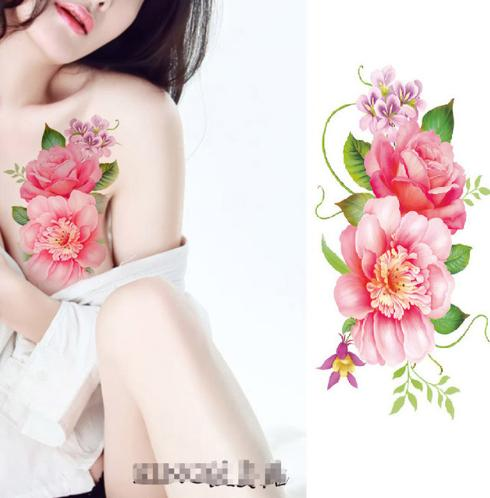 Flower tattoo sticker color sketch tattoo sticker flower peony rose plum tattoo sticker