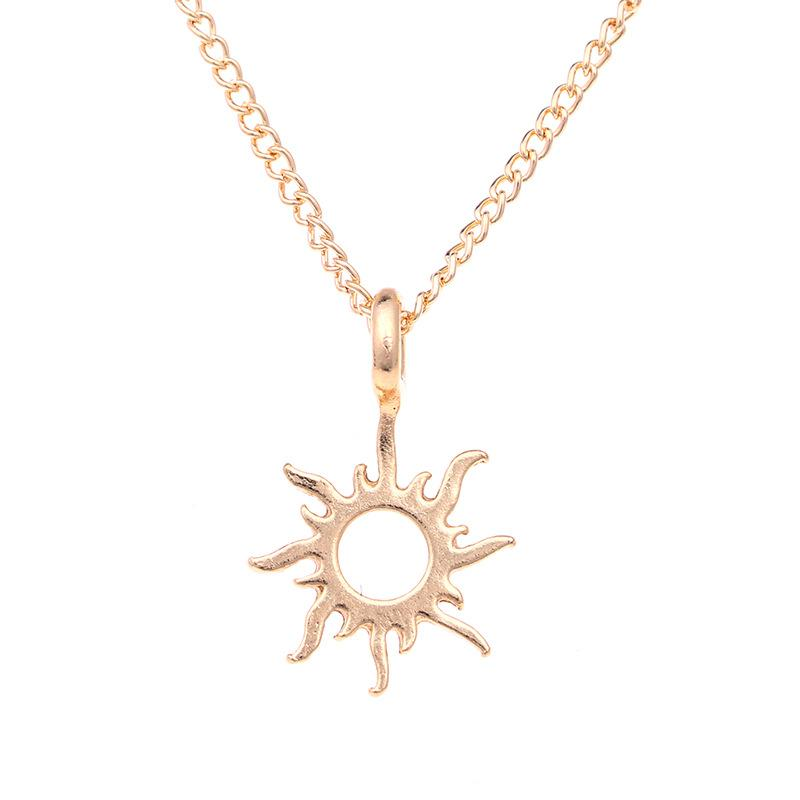 Sun alloy clavicle fish bone short necklace