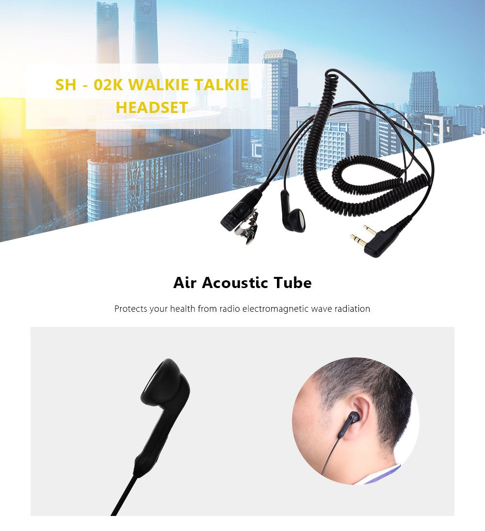 SH - 02K Air Acoustic Tube Mic Walkie Talkie Headset Earpiece