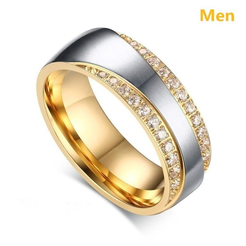 Zircon and European and American fashion men and women couple ring