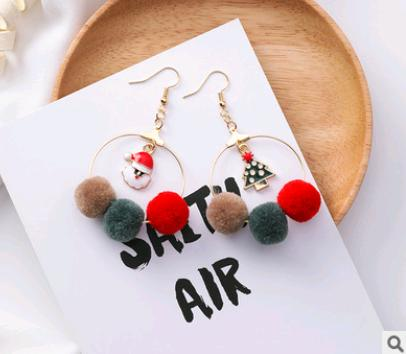 Christmas earrings holiday gift personality Santa Claus gift tree hair ball cane candy fashion earrings