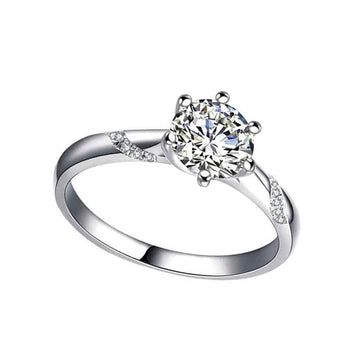 Silver six-claw moissanite carat diamond ring