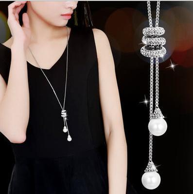 Korea long simple pearl pendant long necklace pendant wild diamond tassel sweater chain female 9302
