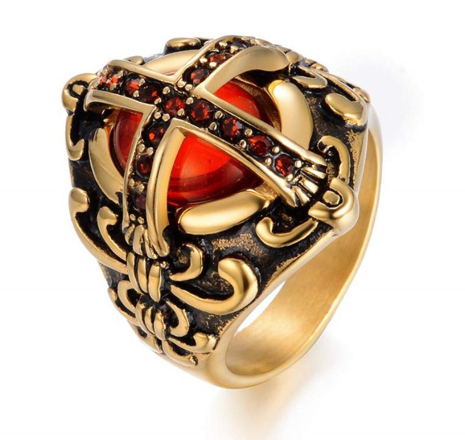 Cross red diamond ring