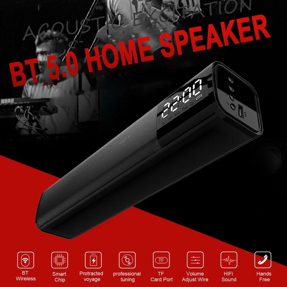 Bluetooth Soundbar Audio Player Wireless Speaker Subwoofer 3D Surround Speakers FM Radio Clock TF USB for Home TV PC