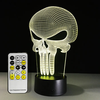 3D LED Punisher Skull Lamp