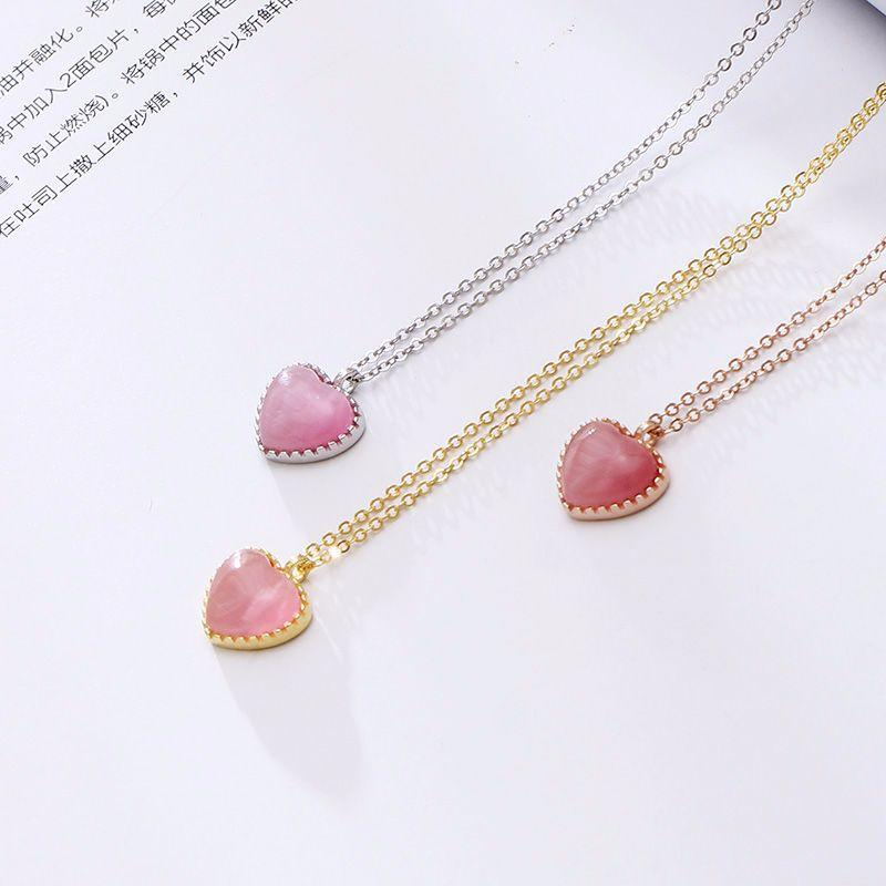 The New Pink Opal Necklace Sterling Silver Heart girls love female S925 bone simple heart-shaped pendant chain wholesale