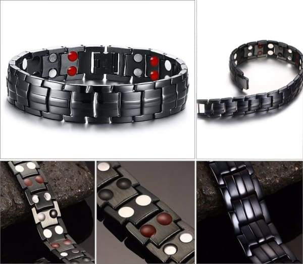 Men's Black Stainless Steel Health Bracelet/Power Balance Bracelet