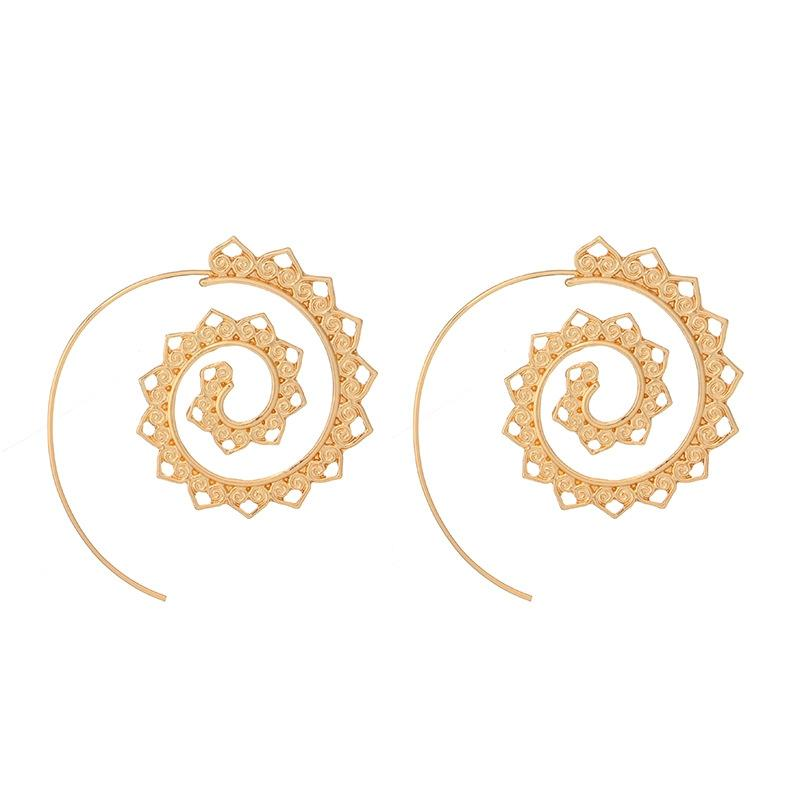 Vintage Round Spiral Circles Gear Stud Earrings