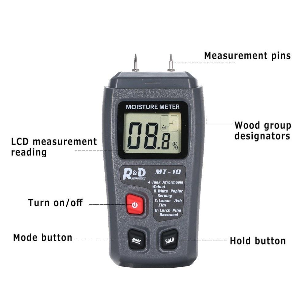MT-10 Two Pins Digital Wood Moisture Meter Portable Mini Humidity Tester With Large LCD Display High Accuracy Timber Hygrometer Damp Detector