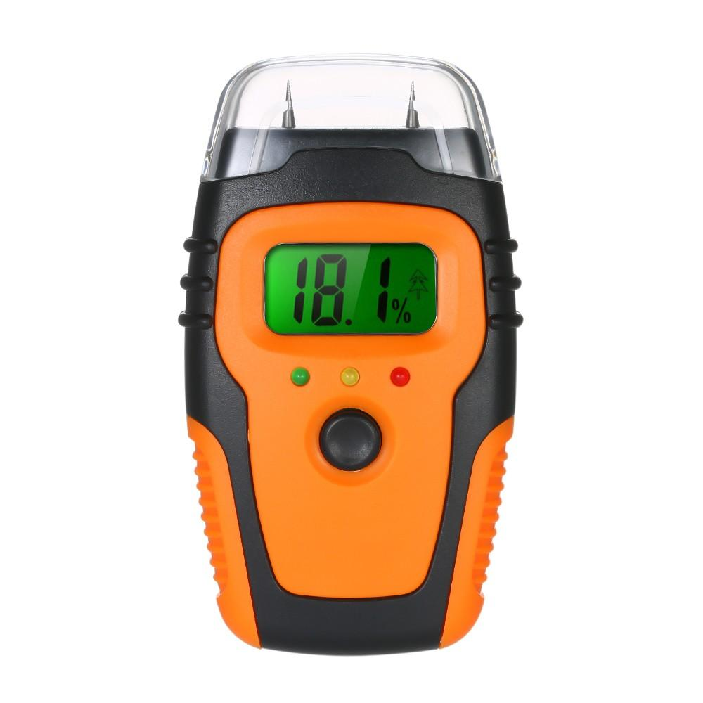 Handheld LCD Digital Wood Moisture Meter Tester Building Material Moisture Detector Pin-Type (No battery)