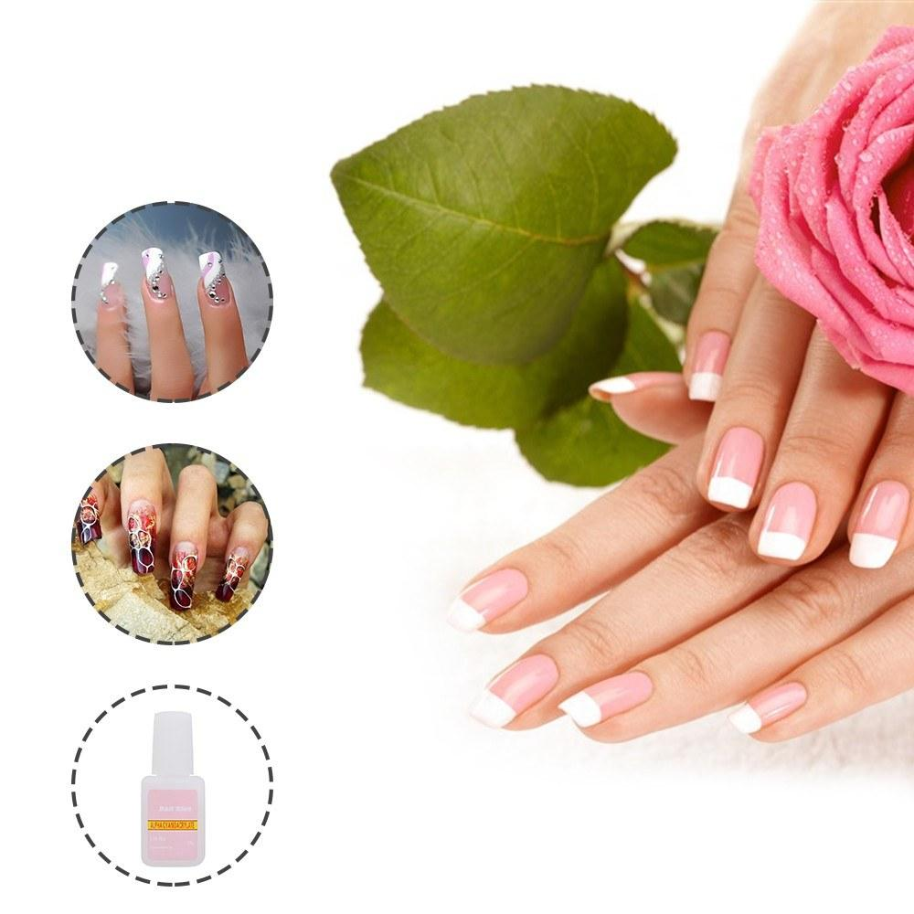 2Pcs False Nail Gel Glue Fake Nails Glue with Brush Nail Art Tips Glitter Acrylic Decoration Nail Art Accessories