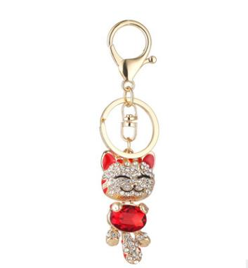 Fashion Enamel Lucky Cat Crystal Keychain Alloy Keyring For Women Party Gift Key chains