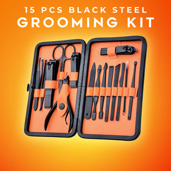 15 Pcs Black Steel Grooming Kit