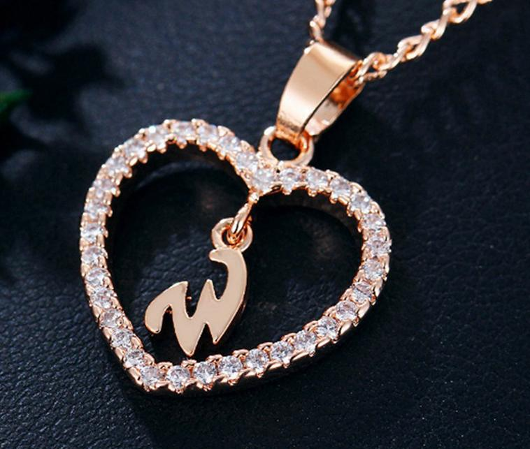 Letter chain 26 letter cutout rhinestone letter heart necklace