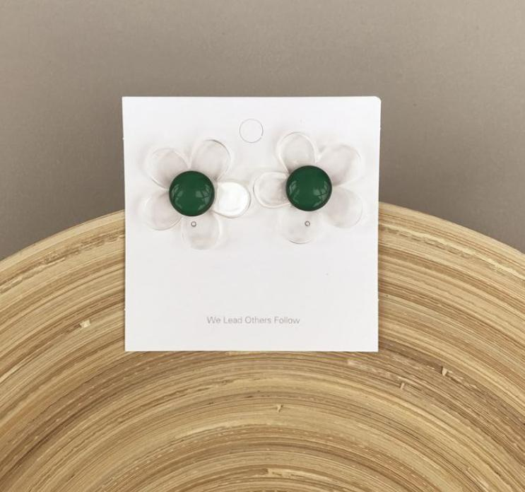 Transparent flower earrings