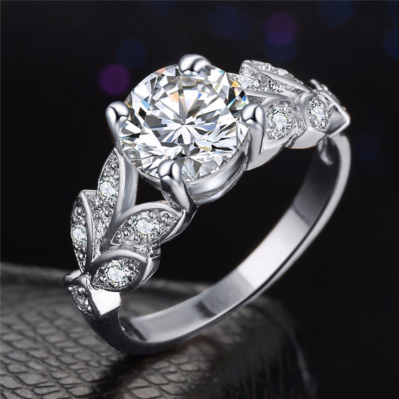 9-Gem Leaf Ring With Cubic Zirconia