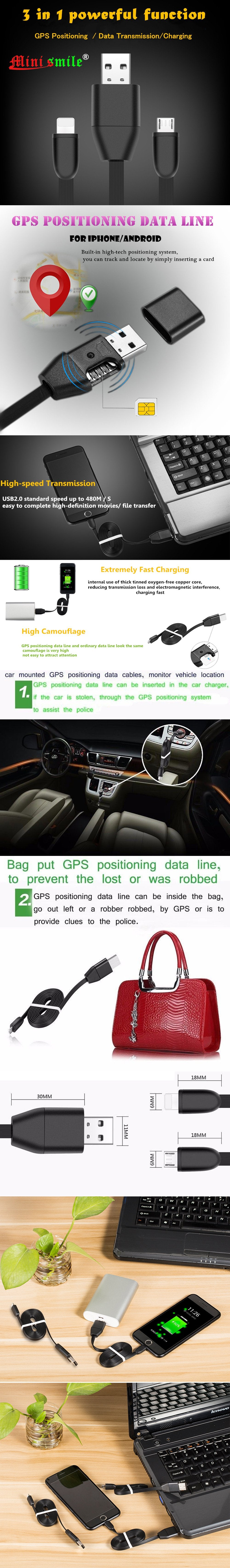 Minismile GPS Tracker Car Vehicle Chargers USB Cable Real Time GSM/GPRS Tracking