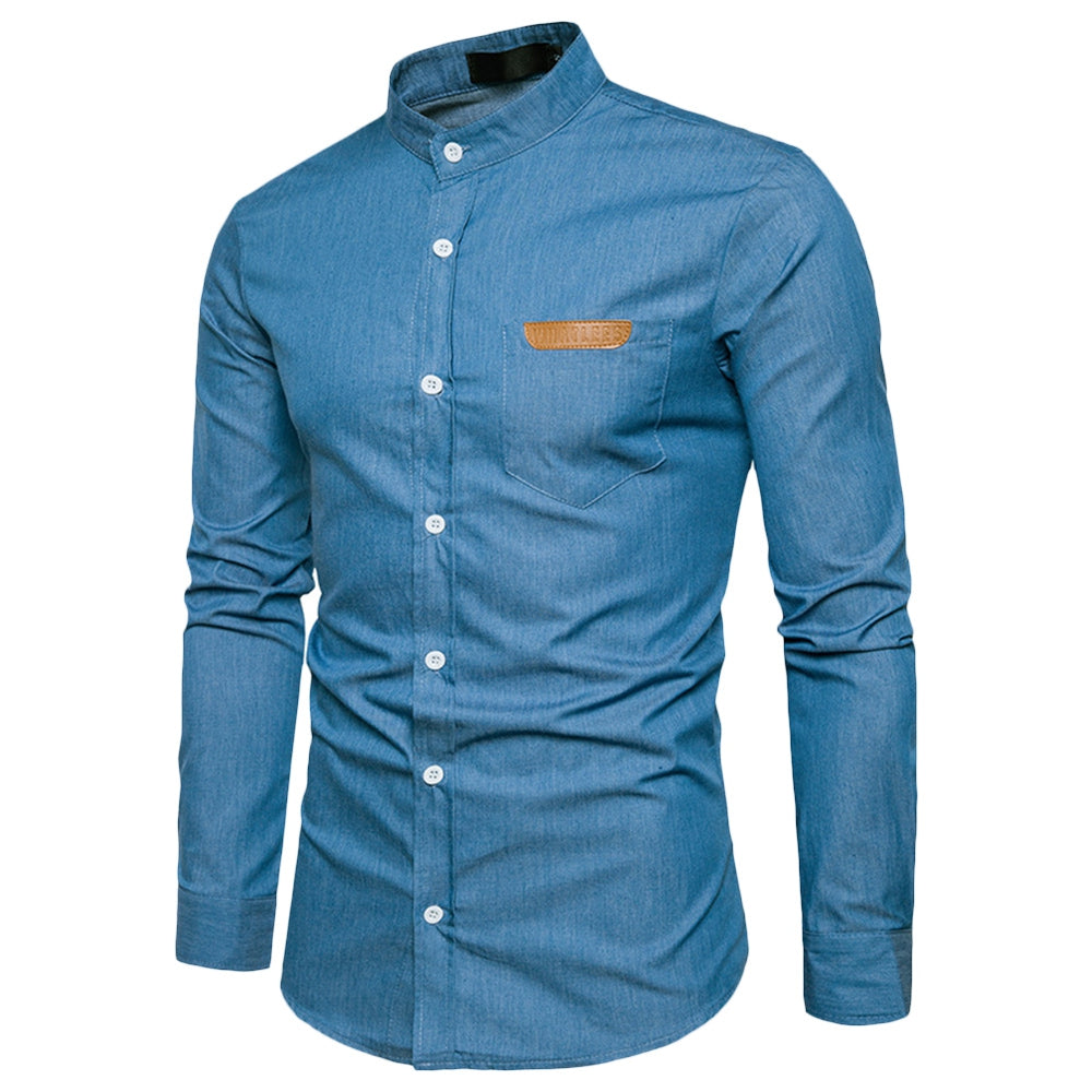 Stand Collar Men's Shirt