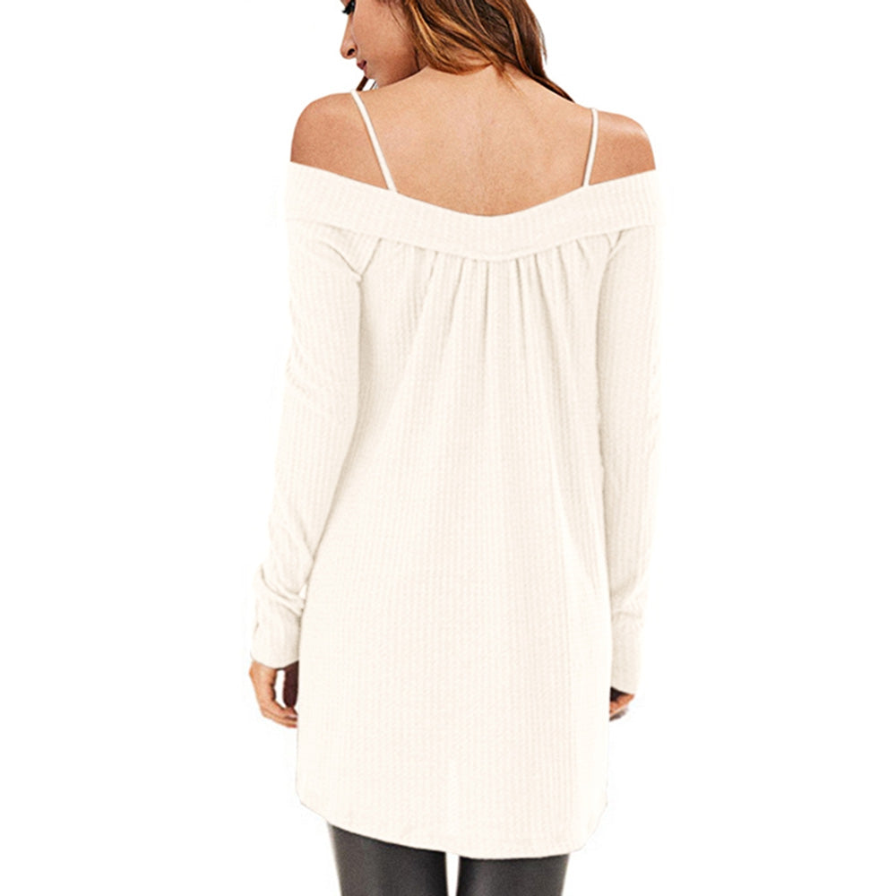 Crisscross Open Shoulder Tunic Sweater