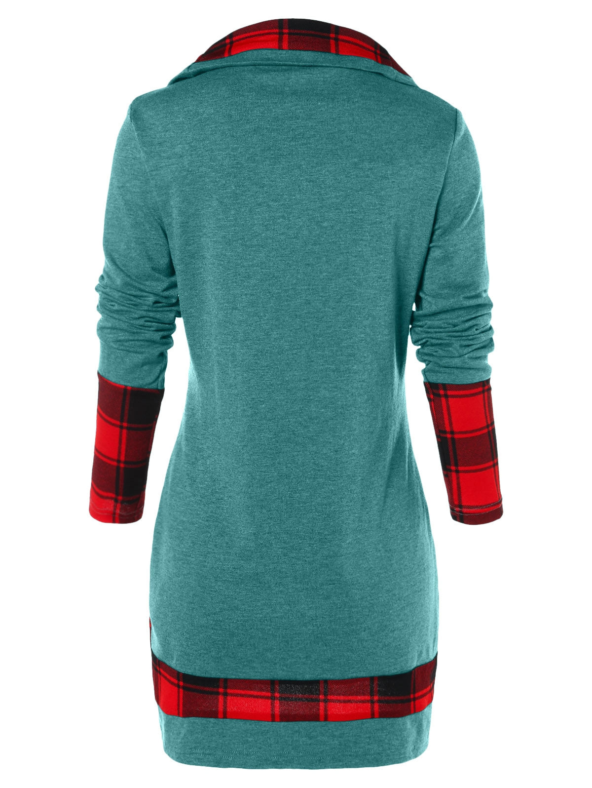 Tartan Panel Cowl Neck Tulip Front T-shirt