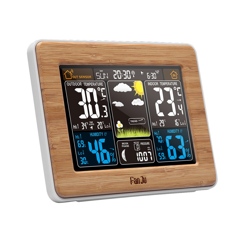 FanJu FJ3365 Weather Station Color Forecast with Alert Temperature Humidity Barometer Alarm Moon Phase
