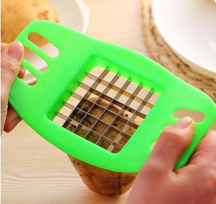 kitchen gadgets 2 Blades Potato Cutter Chopper Stainless French Fries Slicer for kitchen cortador de vegetales Home Kitchen Tool