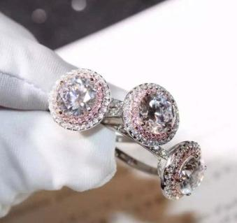 Full diamond micro-inlaid zircon plated white gold double-layer round pink simulation diamond ring female US version of the wedding ring
