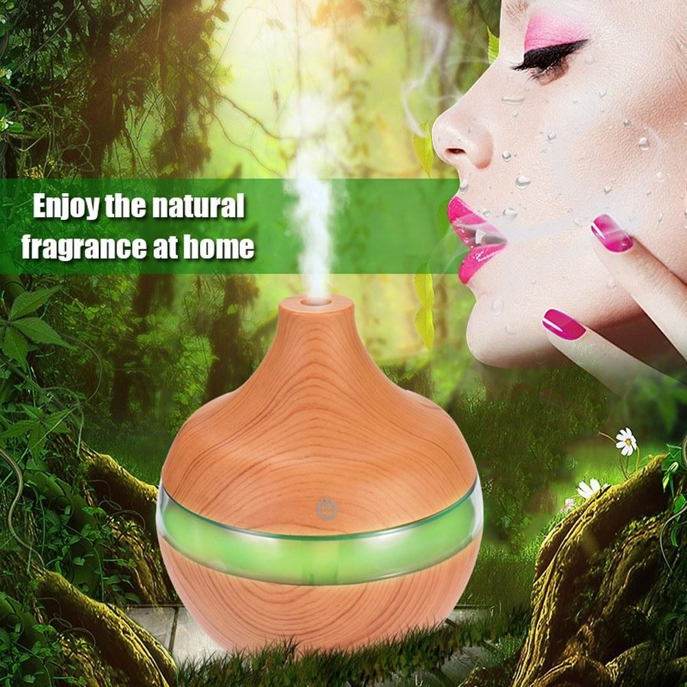 USB Wood-grain LED Night Lamp Humidifier Mini Ultrasonic Static Air Purifier Aromatherapy Machine