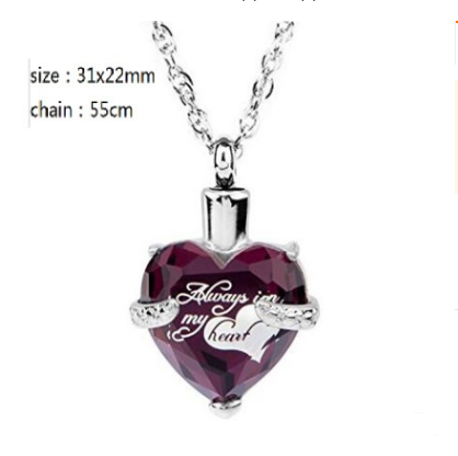 Heart-shaped February stone birth stone casket funeral seal fashion necklace pendant