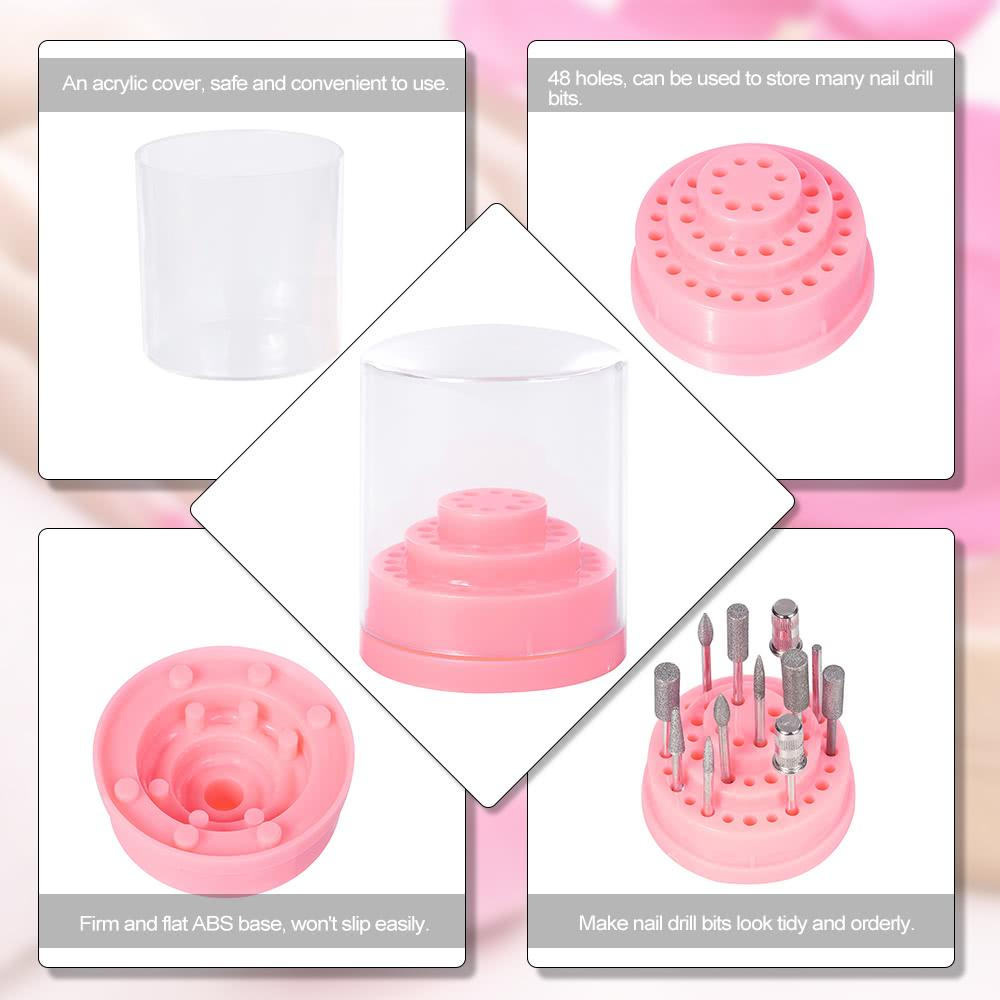 Nail Drill Bit Holder Stand Displayer Organizer Container 48 Holes Nail Manicure Tools Acrylic Cover