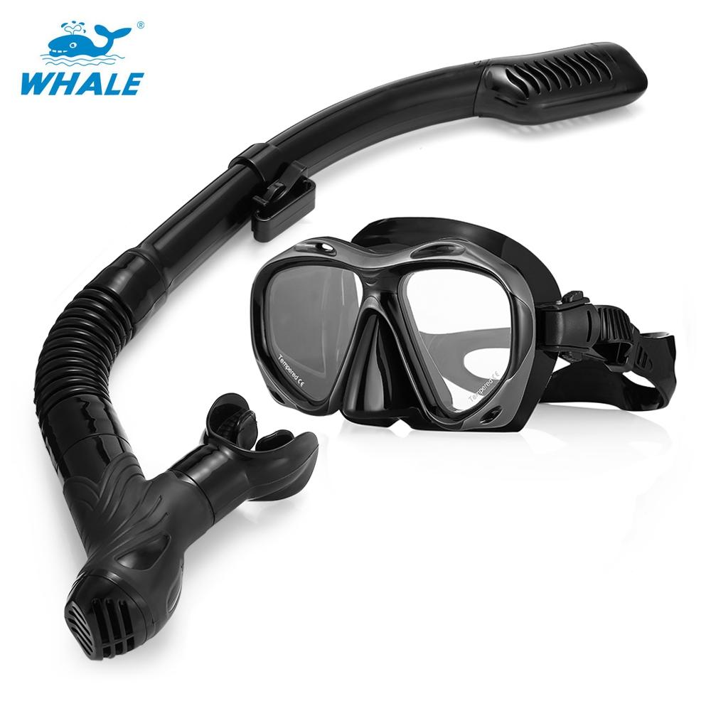 WHALE MK2600 + SK900 Professional Adult Diving Silicone Mask Glasses Snorkel Set