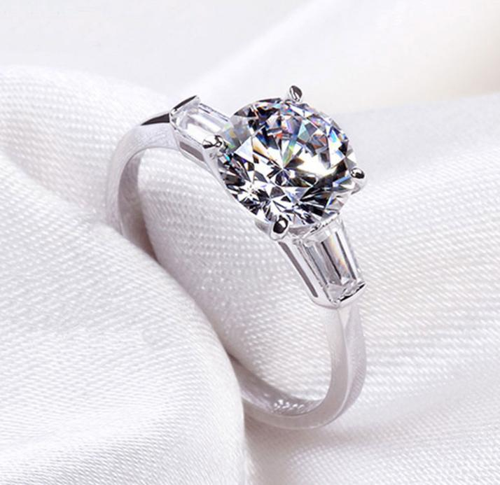 Amazing Round Crystal White&Pink AAA Cubic Zirconia 925 Sterling Silver Wedding Ring For Women