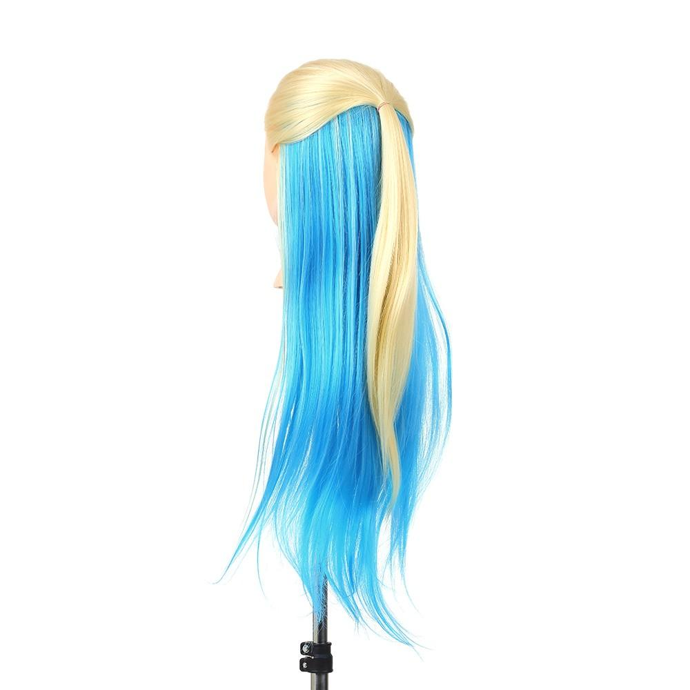"27"" Mannequin Head Blue+Gold Hairdressing Training Head Hair Braiding Styling Practice Dummy Head Model With Clamp"
