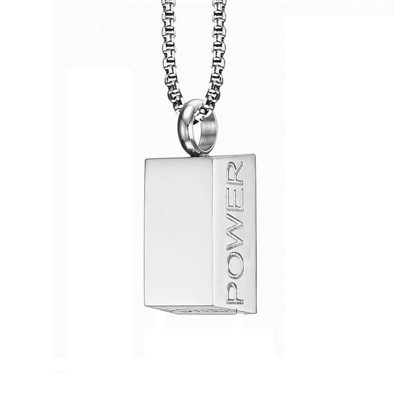 Energy Nugget Long Necklace Men's Personality Fashion Domineering Japan and South Korea Edition Square Titanium Steel Pendant