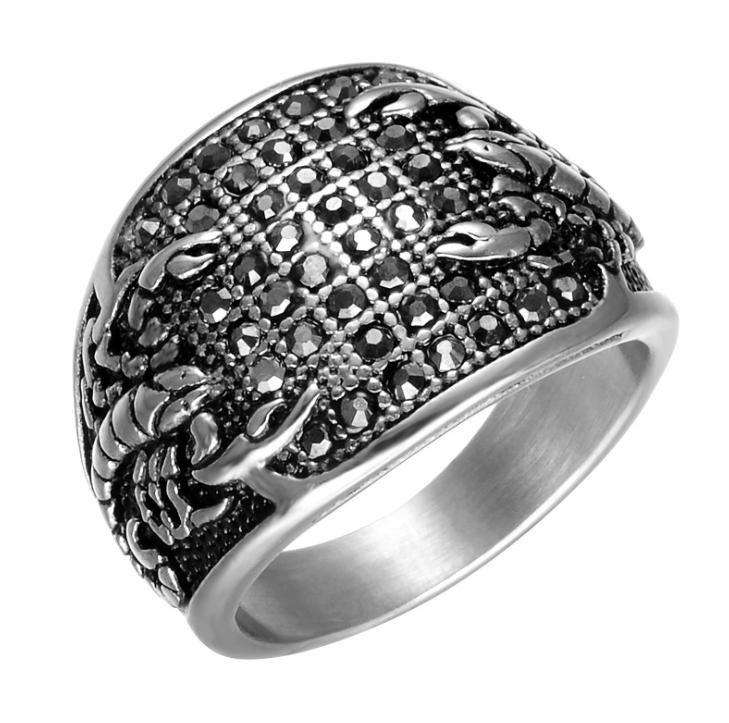 European and American personality stainless steel diamond men's ring hip hop ring