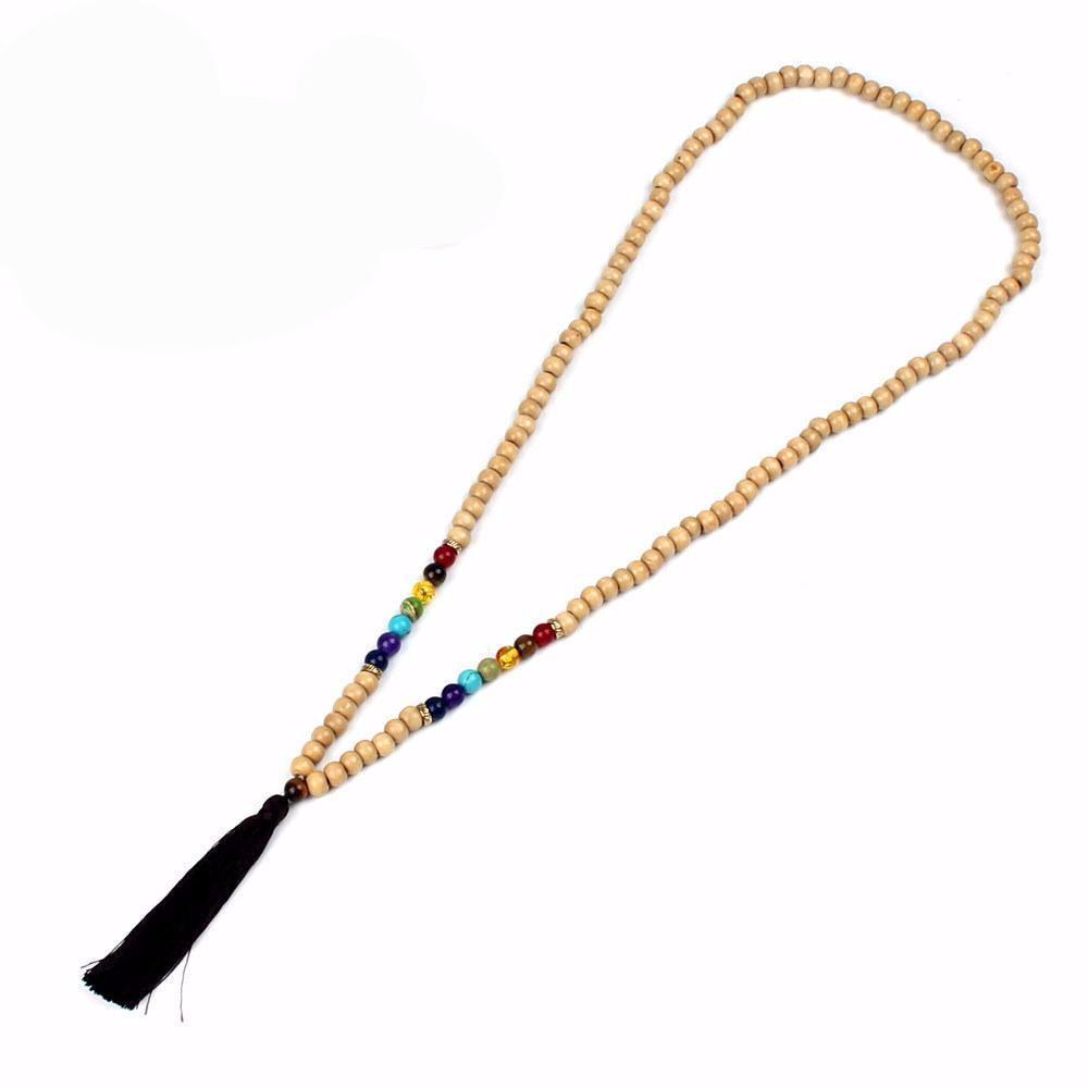 Handmade Long Natural Stone Chakra Wooden Bead Mala Tassel Necklace