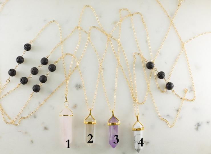 European and American foreign trade cross-border new products Lava volcanic stone necklace Amethyst hexagonal column pendant long necklace