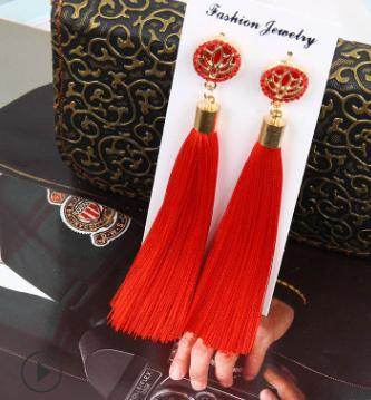 European and American foreign trade fashion explosions exaggerated long temperament lotus flower tassel earrings female