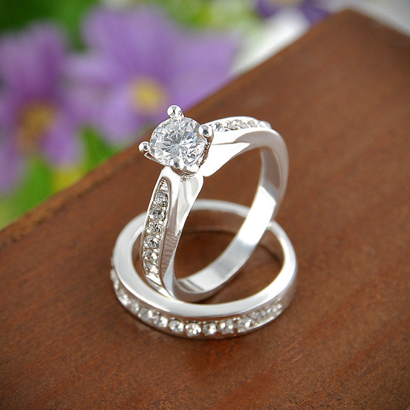 Charm Lovers Silver Crystal Ring Set