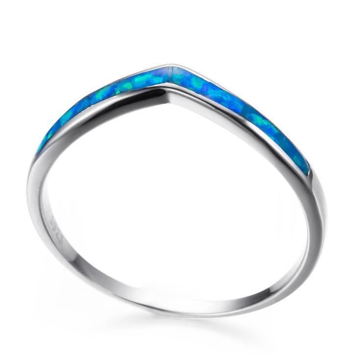 925 Sterling Silver Fashion Jewelry Mystic Ocean Blue / White Opal Fire Rings For Women Gifts