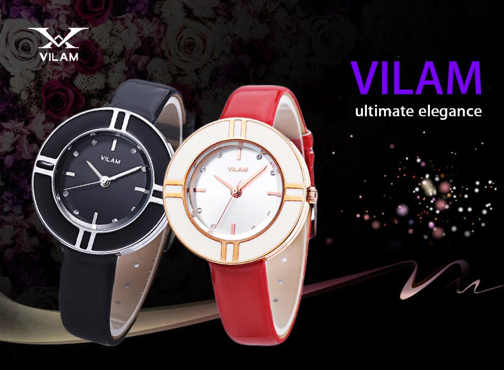 VILAM V1022L - 01 Female Quartz Watch Artificial Diamond Circular Dial 3ATM Leather Band Wristwatch
