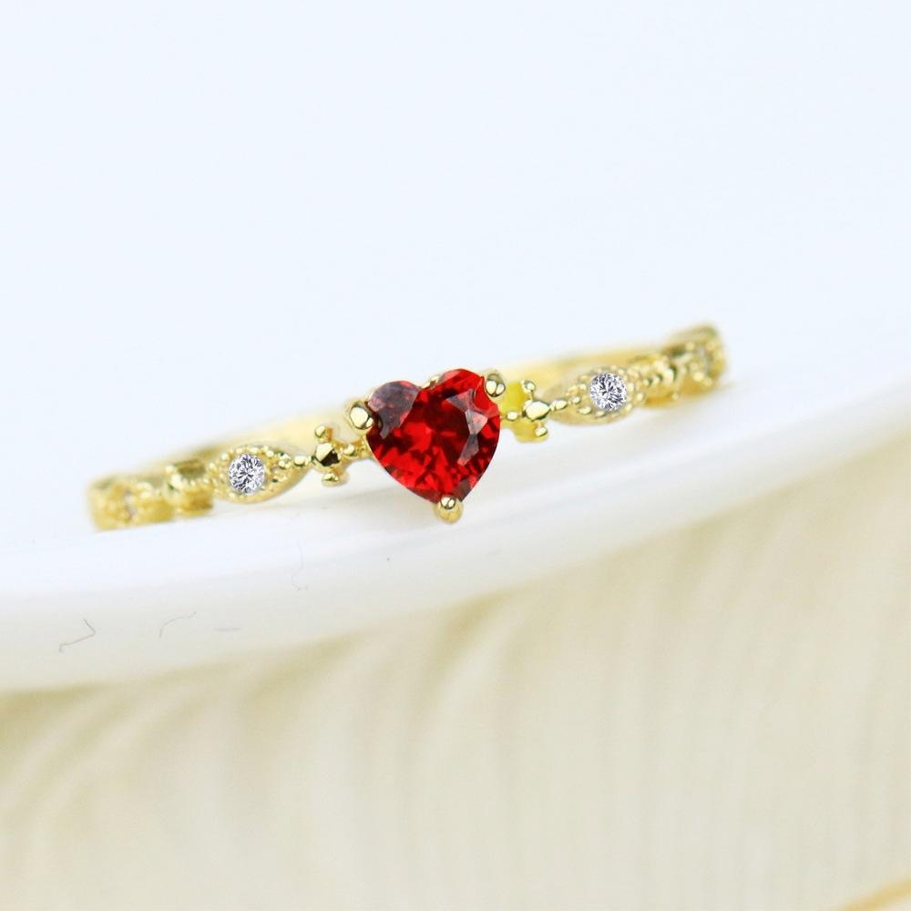 Gold heart shaped ruby diamond ring