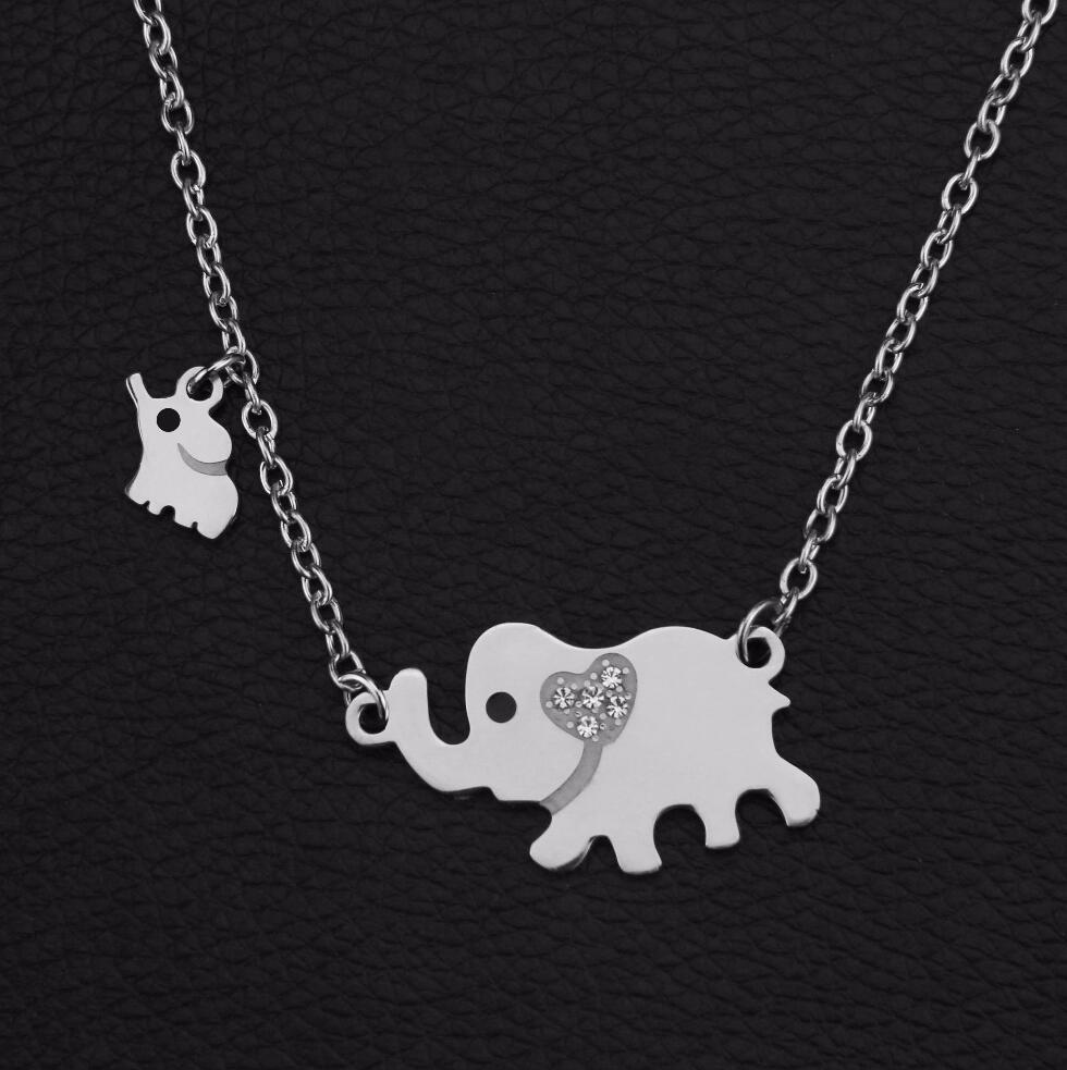 New fashion style; titanium steel double elephant necklace for men, the mother of the baby Dropshipping jewelry pendants