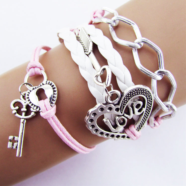 Leather Strap Love Charm Bracelet